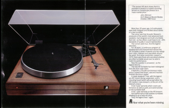 Acoustic Research Legend Turntable Steve Hoffman Music